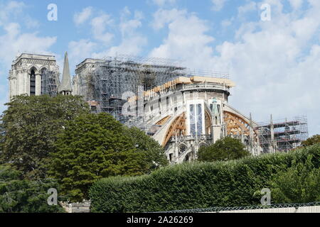 Notre-Dame de Paris undergoing renovation and restoration in September 2019. The roof of Notre-Dame caught fire on the evening of 15 April 2019. Burning for around 15 hours, the cathedral sustained serious damage. on 16 July, 2019, the French Parliament passed a law requiring that it be rebuilt exactly as it appeared before the fire. - Stock Photo