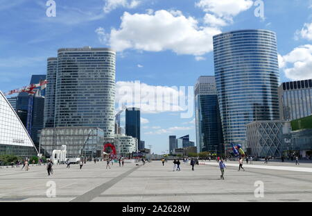 La Defense, a major business district located three kilometres west of the city limits of Paris. It is part of the Paris metropolitan area in the Ile-de-France region - Stock Photo