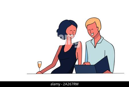Vector hand drawn illustration isolated on white. Young woman in dress with a glass of champagne. Man in shirt. Happy smiling couple in a restaurant l - Stock Photo