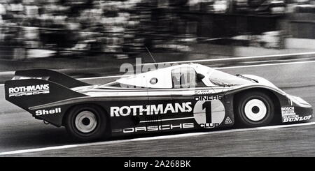 A photograph of a Porsche 956, a Group C sports-prototype racing car designed by Norbert Singer and built by Porsche in 1982 for the FIA World Sportscar Championship. Dated 20th century - Stock Photo