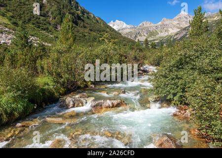 Rainbachtal valley alpine landscape, a side valley of the Krimmler Achental. Hohe Tauern National Park. Austrian Alps. - Stock Photo