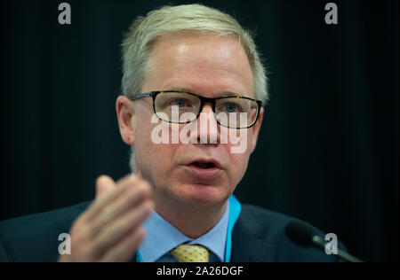 Manchester, UK. 1st Oct, 2019. Doug Bannister, Chief Executive, Port of Dover, speaks at the Conservativehome (in partnership with Port of Dover) fringe event titled 'With one month to go until Brexit, how prepared are Britain's key transport links?' on day three of the Conservative Party Conference in Manchester. Credit: Russell Hart/Alamy Live News - Stock Photo