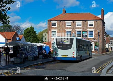 Bus in the small town of Crowle, North Lincolnshire, England UK - Stock Photo