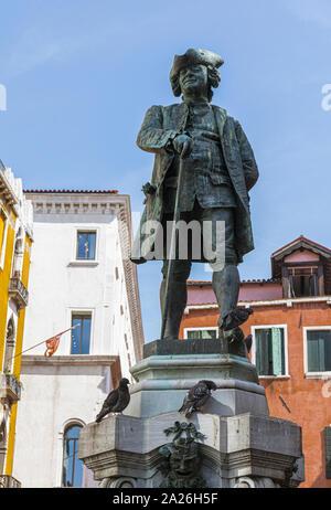 Carlo Goldoni, 1707 - 1793.  Italian playrwright and librettist.  Statue in Campo San Bartolomeo created by Italian sculptor Antonio Dal Zotto, 1852 - - Stock Photo