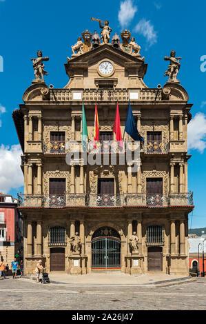 Pamplona town hall building, Navarra, Spain - Stock Photo
