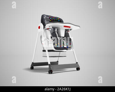 Modern white highchair for feeding child with soft stand 3d render on gray background with shadow - Stock Photo
