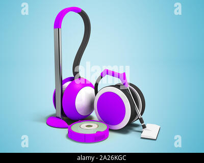 Modern vacuum cleaners with hoses and vacuum cleaner robot purple with white insets 3D render on blue background with shadow - Stock Photo