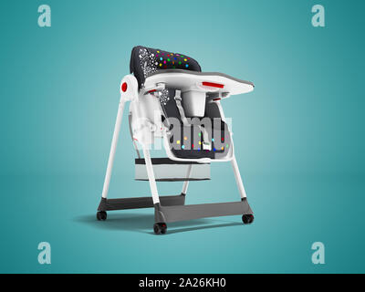 Modern white highchair for feeding child with soft stand 3d render on blue background with shadow - Stock Photo