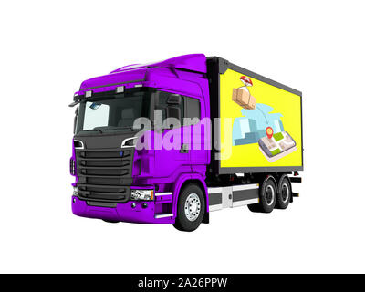 Modern purple truck with yellow trailer for mail transport 3d render on white background no shadow - Stock Photo