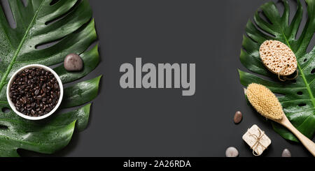 SPA anti-cellulite massage set with coffee beans and stiff brush. Space for text. View from above. Banner. Concept natural cosmetics and body care. - Stock Photo