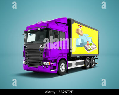 Modern purple truck with yellow trailer for mail transport 3d render on blue background with shadow - Stock Photo