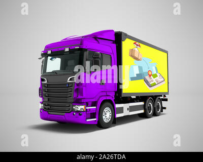 Modern purple truck with yellow trailer for mail transport 3d render on gray background with shadow - Stock Photo
