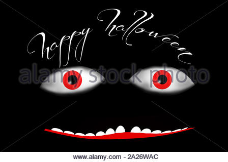 a nice monster. two red eyes and a big mouth with teeth and the message 'happy halloween' - Stock Photo