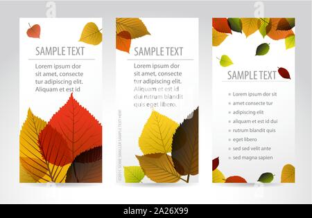 Fresh natural fall vertical banners with leafs and sample text - Stock Photo