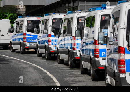 03.05.2019, Essen, North Rhine-Westphalia, Germany - Police vehicles, riot police in action at Fridays for Future Demonstration on the occasion of the - Stock Photo
