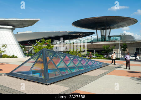 24.05.2019, Singapore, , Singapore - Exterior view of the Expo stop of the MRT light rail at Changi Business Park. The station was designed by the Bri - Stock Photo