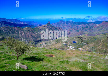 View from Pico de las Nieves - the highest mountain of Gran Canaria island, Spain - Stock Photo