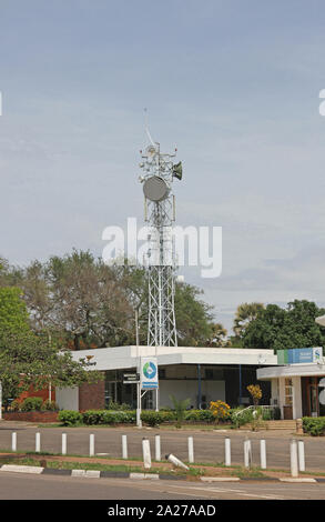Western union and wifi microwave tower, Zimbabwe. - Stock Photo