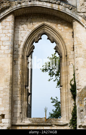 Jumieges, Normandy / France - 13 August 2019: detail view of the ruins of the old abbey and Benedictine monastery at Jumieges in Normandy in France