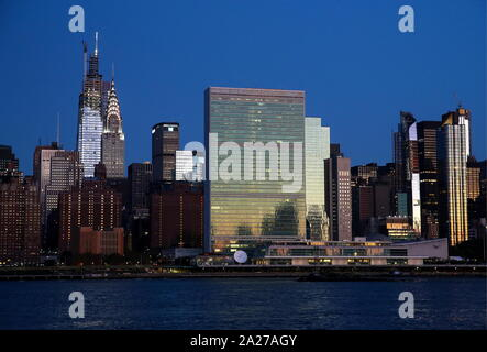 New York City, USA. 29th Sep, 2019. NEW YORK CITY, USA - SEPTEMBER 28, 2019: A view of the United Nations (UN) headquarters. Valery Sharifulin/TASS Credit: ITAR-TASS News Agency/Alamy Live News - Stock Photo