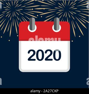 red calendar 2020 new year firework background vector illustration EPS10 - Stock Photo