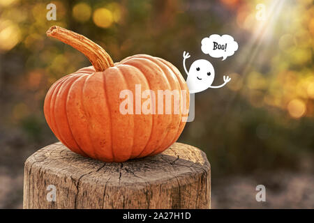 a cute ghost hidden behind a pumpkin jumps out and shouts boo! - Stock Photo