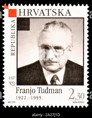 Croatian postage stamp (1999) - death of Franjo Tudman / Tudjman (1922-1999) first President of Croatia (1990 - 1999) - Stock Photo