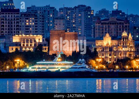 Maiden Tower seen from the Caspian sea, Baku, Azerbaijan - Stock Photo