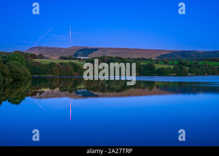 Winter Hill television transmission mast view in horwich Bolton England united kingdom - Stock Photo