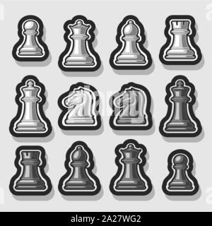 Vector set of Chess Pieces, collection of 12 white and black isolated silver chess figures, classic king & queen, outline bishop and knight, monochrom - Stock Photo