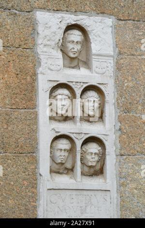 Italy, Lombardy, Milan, Via Alessandro Manzoni Street, Archi di Porta Nuova, Gates of the Medieval Walls Around Milan, Bass Relief - Stock Photo