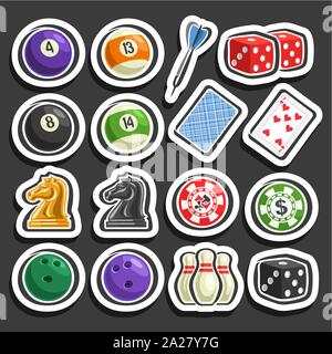 Vector set of Gaming and Gambling Equipment, collection of billiards balls, darts arrow, cubes for craps, playing card, chess knight, chips for casino - Stock Photo