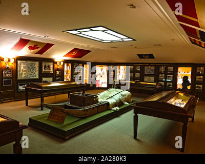 Lake Como, Lombardy, Italy.  Exploration artifacts used by Guido Monzino on display in the upper museum room  at the Villa del Balbianello,  near Lenn - Stock Photo