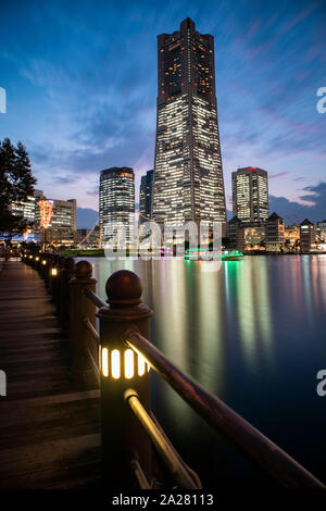 Minato Mirai, Yokohama - September 30, 2019 : View of the Landmark Tower during sunset. Portrait orientation. - Stock Photo