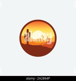 Desert landscape logo with cactus, mountain desert vector template, company logo, logo product label - Stock Photo