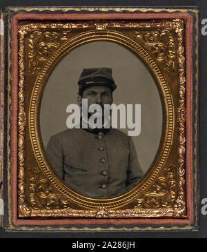 Private R. Cecil Johnson of 8th Georgia Infantry Regiment and South Carolina Hampton Legion Cavalry Battalion in uniform - Stock Photo