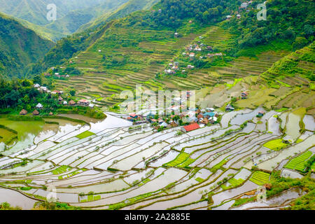 Batad village and UNESCO World Heritage rice terraces in early spring planting season, Banaue, Mountain Province, Cordillera Administrative Region, Ph - Stock Photo