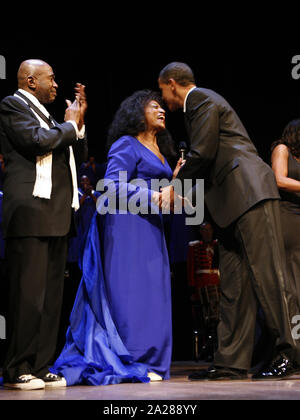 Washington, District of Columbia, USA. 11th Feb, 2009. Washington, DC - February 11, 2009 -- United States President Barack Obama greets Opera Singer Jessye Norman while Ben Veeren applauds at the Ford's Theater reopening celebration, Washington, DC, Wednesday, February 11, 2009. Abraham Lincoln was shot at Ford's Theater on the evening of April 14, 1865. The theater underwent an 18 month renovation Credit: Aude Guerrucci/CNP/ZUMA Wire/Alamy Live News - Stock Photo