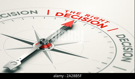 Conceptual compass with needle pointing the right decision. Business judgement concept. 3D illustration.
