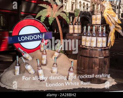 London White Rum Promotional Shop Window, West End, London - Stock Photo