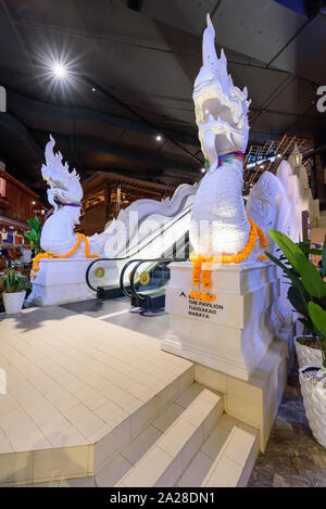Bangkok , Thailand -  17 Sep, 2019 : Big serpent statue at escalator of ICON SIAM shopping center - Stock Photo