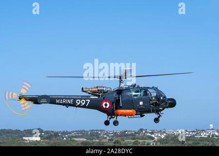 French Navy Alouette III, single-engine light utility helicopter in flight