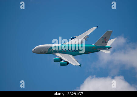 Airbus A380  en présentation au salon du bourget, Not to late to save the corail reef. - Stock Photo
