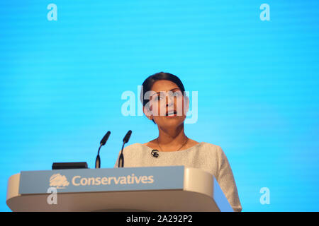 Manchester, UK. 1st October, 2019. The Home Secretary, Priti Patel, gives her speech on crime at the Tory Party Conference,  Manchester, Lancashire, UK. Credit: Barbara Cook/Alamy Live News - Stock Photo