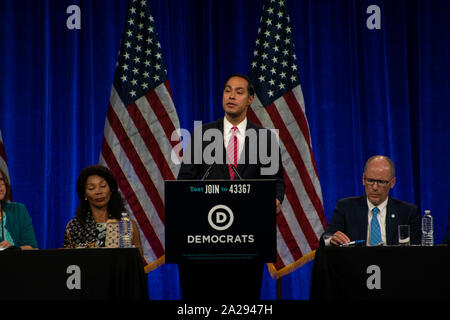 Former U.S. Secretary of Housing and Urban Development Julian Castro speaks at the DNC summer meetings in San Francisco on Aug. 23, 2019. - Stock Photo