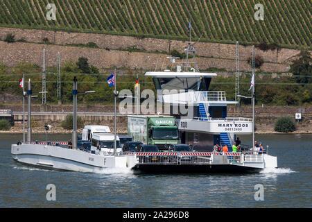 Car ferry on the Rhine, operates between Bingen and Rüdesheim, Germany - Stock Photo