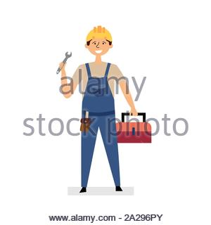 The repairman is holding a wrench and a suitcase with tools. Small business construction, repair. Man in a construction helmet and uniform. Vector - Stock Photo