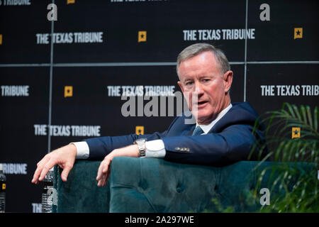 Retired Navy Admiral and former SEAL William McRaven talks about overseeing the raid that killed Osama bin Laden in 2011 as he appears on a podcast with Major Garrett of CBS during a Texas Tribune Festival session in Austin, Texas. - Stock Photo