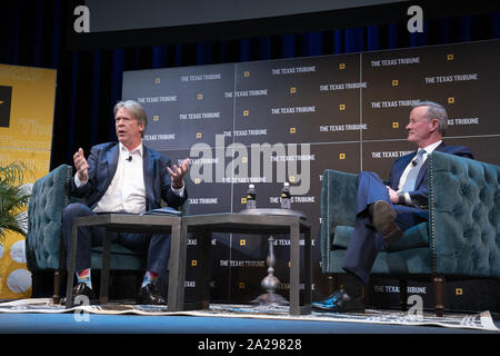 Austin, Texas, USA. 27th Sep, 2019. Retired Navy Admiral and former SEAL William McRaven, l, talks about the raid that killed Osama Bin Laden in 2011 as he appears on a podcast with Major Garrett of CBS during a Texas Tribune Festival session on Sept. 27, 2019. Credit: Bob Daemmrich/ZUMA Wire/Alamy Live News - Stock Photo