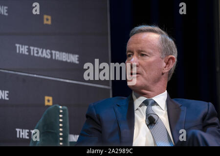 Austin, Texas, USA. 27th Sep, 2019. Retired Navy Admiral and former SEAL William McRaven talks about the raid that killed Osama Bin Laden in 2011 as he appears on a podcast with Major Garrett of CBS during a Texas Tribune Festival session on Sept. 27, 2019. Credit: Bob Daemmrich/ZUMA Wire/Alamy Live News - Stock Photo